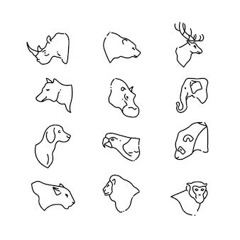 Cabeças de animais vector ícones plana de linha fina