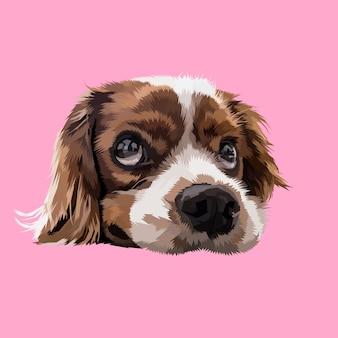 Cabeças de cachorro preguiçoso em estilos geométricos de pop art