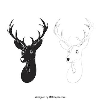 Cabeças de cervos em estilo desenhado mão