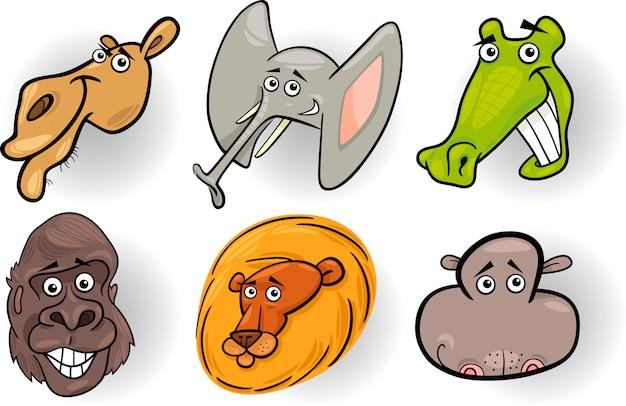 Cabeças de desenhos animados de animais selvagens definidas