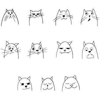 Cabeças de gatos com emoções diferentes em estilo cartoon desenhado à mão doodle ilustração vetorial de animais