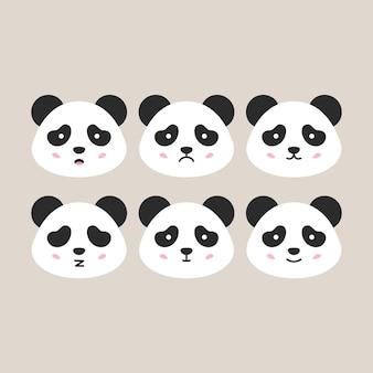 Cabeças de panda planas. ilustração em vetor de cabeças emocionais de animais fofos.