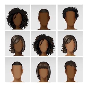 Cabeças de perfil de avatar de rosto feminino masculino multinacional