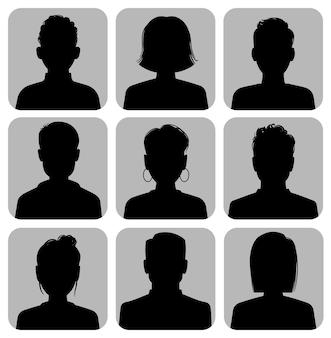 Cabeças de silhueta. avatar de internet de silhuetas de cabeça masculina e feminina, ícones de círculo de perfil, retrato anônimo de mídia social de mulher e homem, coleção isolada de vetor plano