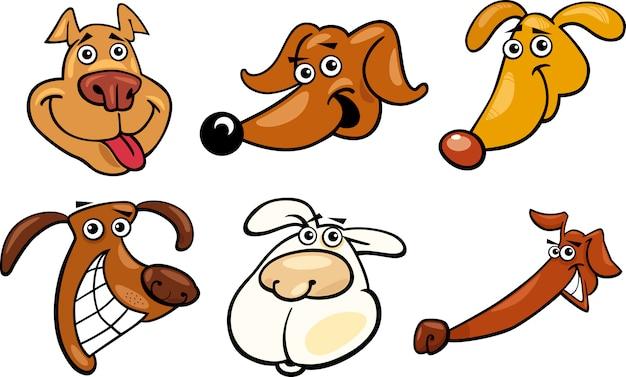 Cabeças divertidas de cães com desenhos engraçados