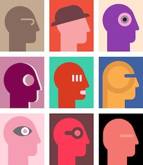 Cabeças humanas em estilo pop art