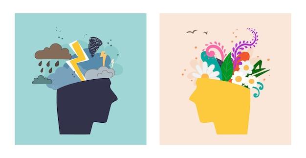 Cabeças humanas expressando saúde mental e psicológica antes e depois da sessão de psicoterapia
