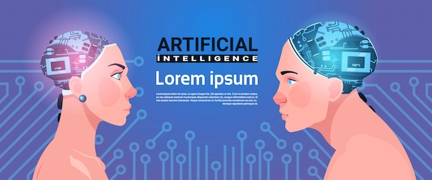 Cabeças masculinas e fêmeas com cérebro moderno do cyborg no conceito da inteligência artificial do fundo do circuito