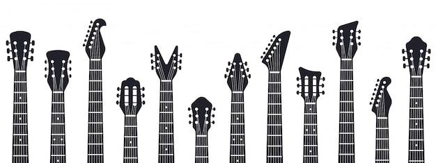Cabeçote de guitarra. silhueta de pescoços de guitarra de música rock. ilustração de guitarras elétricas e acústicas. entretenimento acústico, instrumento de guitarra, equipamento musical