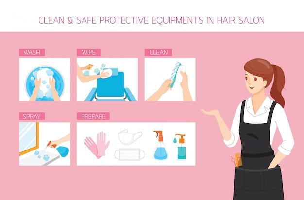 Cabeleireira feminina com equipamentos de limpeza, lavagem, limpeza, preparação e segurança em salão de cabeleireiro