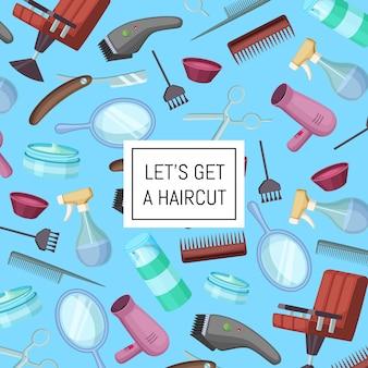 Cabeleireiro barbeiro cartoon elementos com lugar para texto