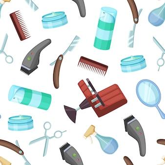 Cabeleireiro barbeiro cartoon elementos padrão tesoura e acessórios pente e navalha