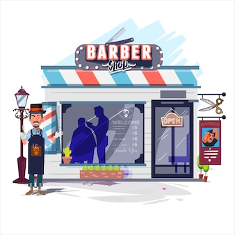 Cabeleireiro com sua barbearia