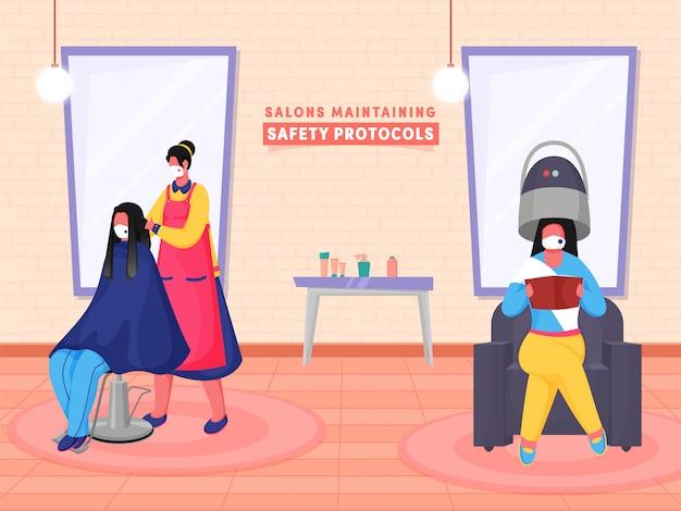 Cabeleireiro cutting hair of um cliente da mulher que senta-se na cadeira em seu salão de beleza e o outro cliente usam o secador de capô do cabelo durante a pandemia do coronavírus.