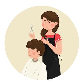 Cabeleireiro de menina corta um jovem. ilustração em estilo simples dos desenhos animados.