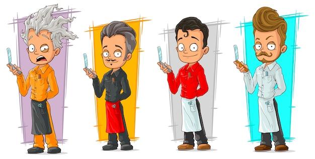 Cabeleireiro dos desenhos animados com conjunto de caracteres de lâmina de barbear