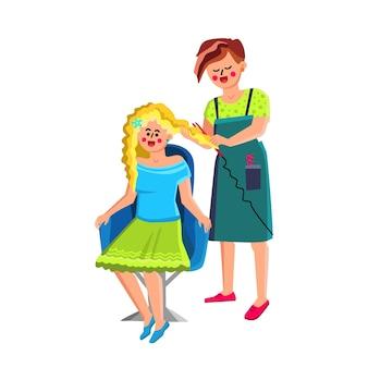 Cabeleireiro feminino fazer penteado para vetor de cliente. cabeleireiro feminino fazendo penteado elegante para mulher jovem. ilustração de desenhos animados de personagens de salão de beleza e cliente