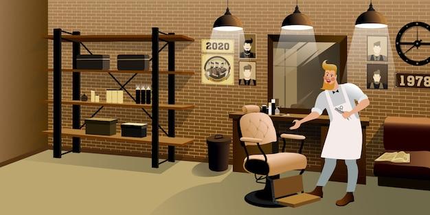 Cabeleireiro na barbearia loft. ilustração de vida de cidade hipster.