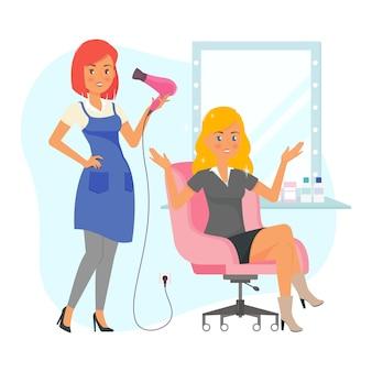 Cabeleireiros e cliente satisfeito em um salão de cabeleireiro