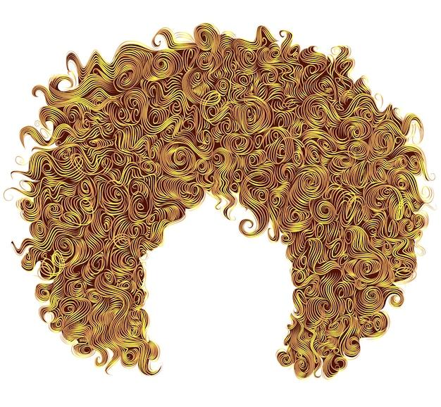 Cabelo amarelo brilhante encaracolado na moda. penteado 3d realista. moda.
