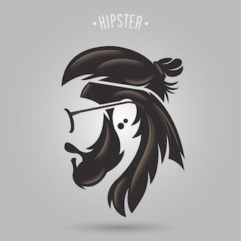 Cabelo comprido de coque hipster