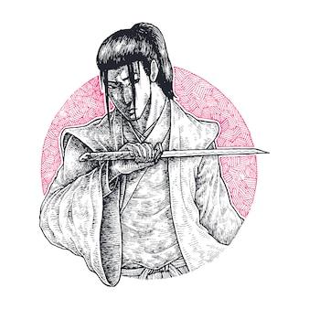 Cabelo comprido ronin segurando seu wakizashi