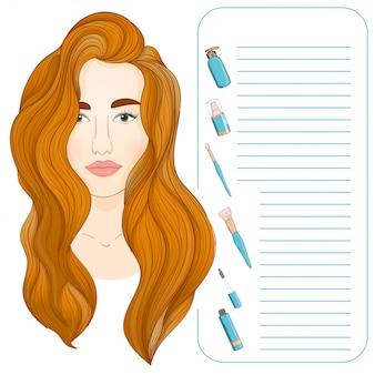 Cabelo comprido ruivo e produtos de beleza. compõem o conceito de cosmetologia artista e modelo.