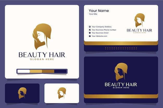 Cabelo de beleza, corte de cabelo, salão, design de logotipo e cartões de visita