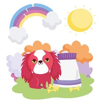Cabelo de cão bonito vermelho com comida e ossos animais de estimação ao ar livre
