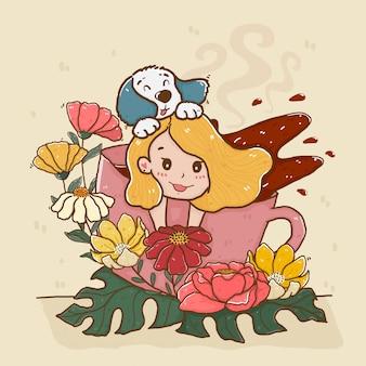 Cabelo de menina bonito amarelo com cachorro em uma xícara de café floral splash, linha dos desenhos animados doodle doce pastel plana vector