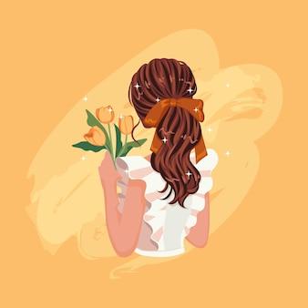 Cabelo de mulher morena na parte de trás. linda garota segurando flor tulipa amarela.