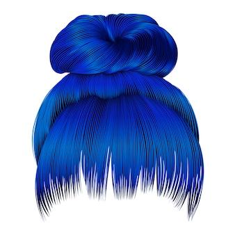 Cabelo de mulheres coque com cores de franjas azuis.
