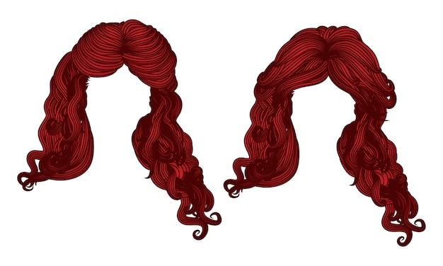 Cabelo encaracolado de cor vermelha