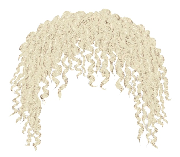 Cabelo loiro encaracolado e desgrenhado da moda. 3d realista. afro unissex