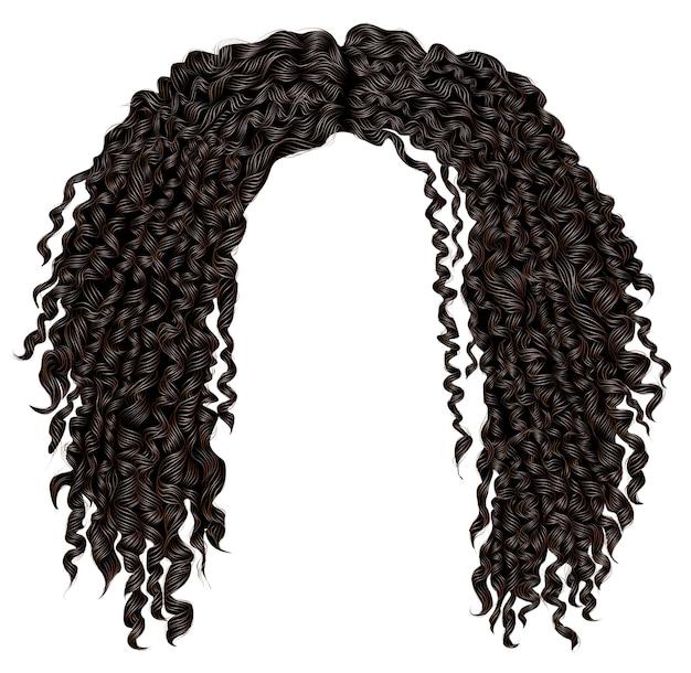 Cabelo preto africano desgrenhado encaracolado na moda. 3d realista. moda beleza estilo. unissex mulheres men.afro