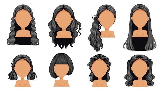 Cabelo preto penteado bonito conjunto de mulher de cabelo preto. moda moderna para sortimento. cabelo comprido, cabelo curto, franja, penteados de salão de cabeleireiro encaracolado e vetor de corte de cabelo da moda