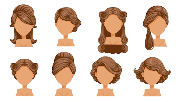 Cabelo retrô feminino. penteados vintage de mulheres. cabelo enrolado, cabelo finamente enrolado. antiquado. o clássico e moderno. penteados de salão para corte de cabelo.