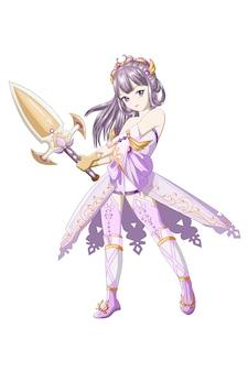 Cabelo roxo de garota anime vestindo fantasia roxa amarela e traz a espada