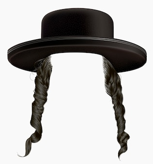 Cabelo sidelocks peruca judia hassid no chapéu.