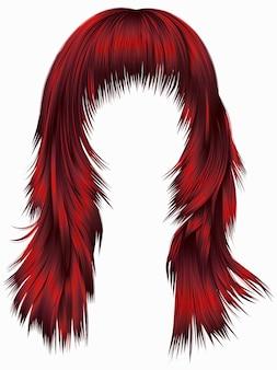 Cabelos longos da mulher na moda cores vermelhas. 3d realista