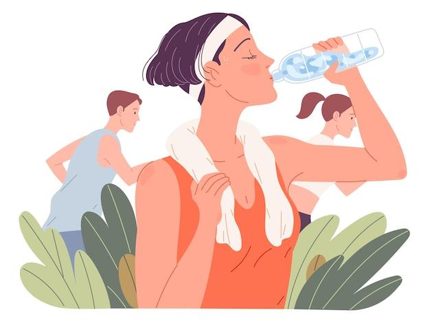 Caber a água potável da mulher. menina bebe durante a corrida no verão.
