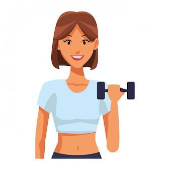 Caber mulher fazendo exercício