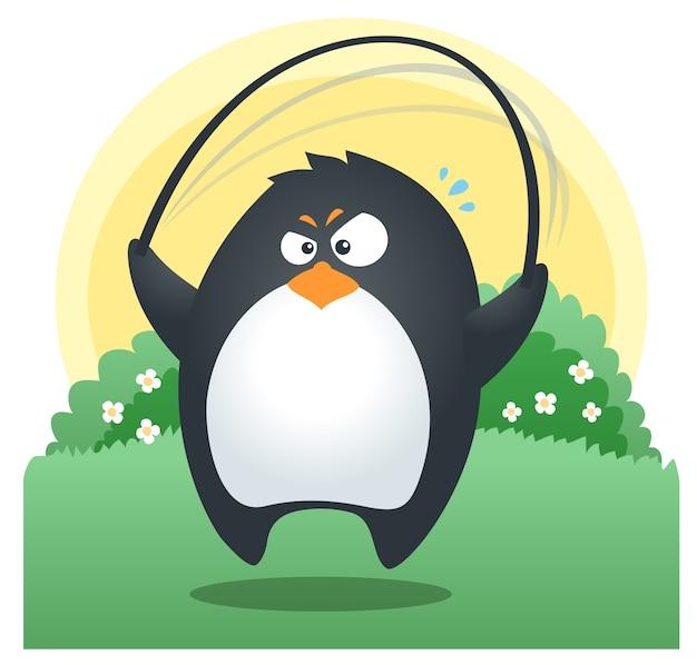 Caber pinguim pular corda