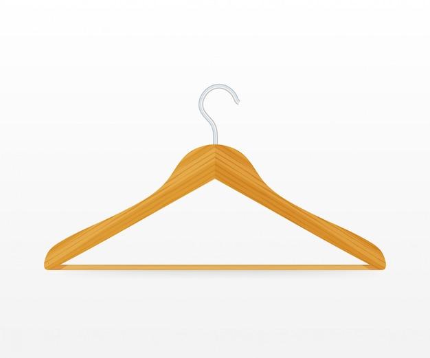 Cabide de madeira do casaco de roupas de vetor realista fechar isolado no branco