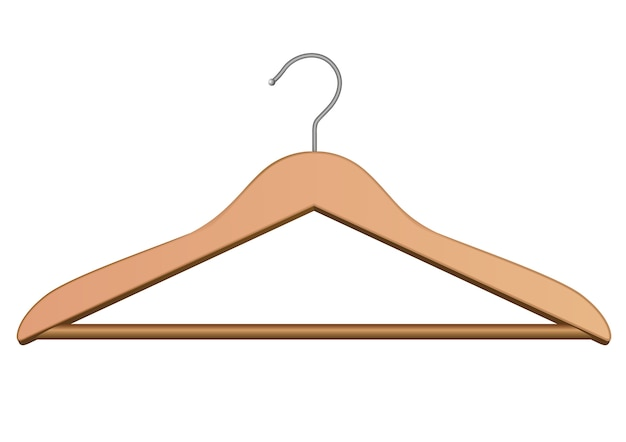 Cabide de madeira para roupas. isolado no branco.