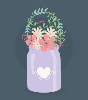 Cabide de metal com decoração de flores e folhas