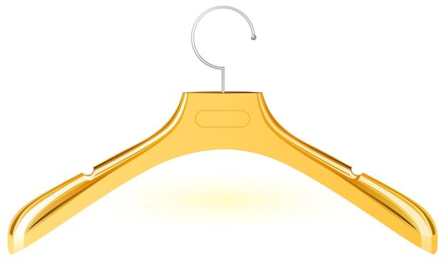 Cabide de plástico de ouro para roupas. isolado no branco.