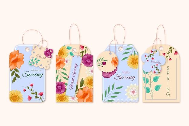 Cabides de etiquetas com anúncio de design floral