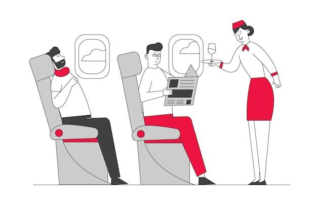 Cabine de avião com aeromoça e passageiros