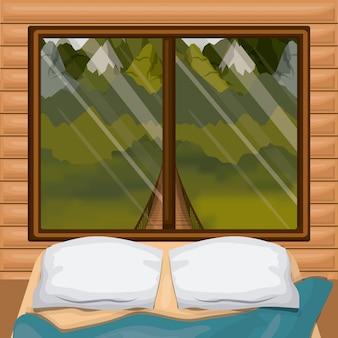 Cabine de madeira interior de fundo colorido com cama e floresta cenário por trás da janela